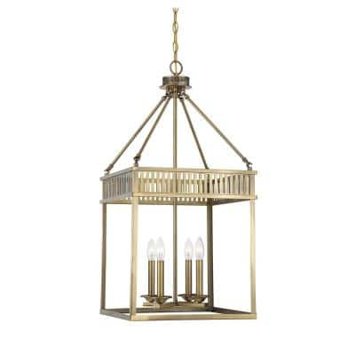 4-Light Warm Brass Pendant with Clear Glass