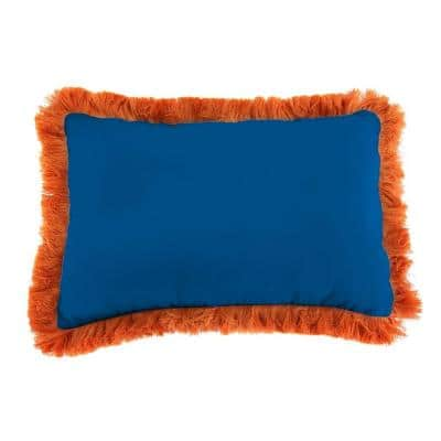 Sunbrella 19 in. x 12 in. Canvas Navy Lumbar Outdoor Throw Pillow with Tuscan Fringe