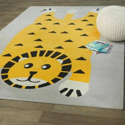 Little Lion Yellow 5 ft. x 7 ft. Kids Area Rug