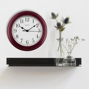 9 in. Simplicity Wall Clock with Bezel and Burgundy