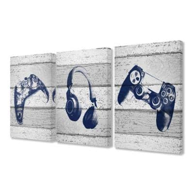 """16 in. x 24 in. """"Video Gamer Trio Controllers Headset Blue Graphics on Planks"""" by Daphne Polselli Canvas Wall Art"""