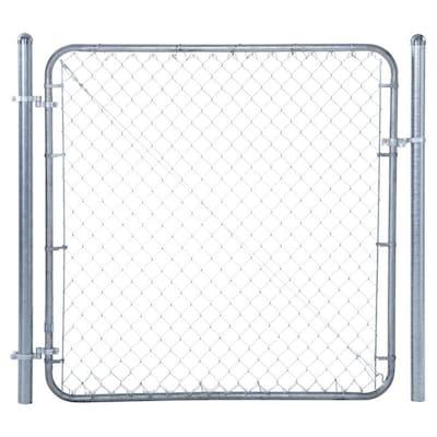 6 ft. W x 4 ft. H Galvanized Metal Adjustable Single Walk-Through Chain Link Fence Gate