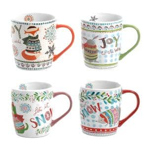 Snow Scene 18 oz. Assorted Color Holiday Mugs (Set of 4)