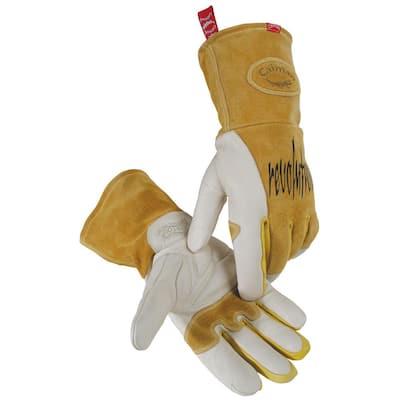 Large Gold Ergonomic Cow Grain Mig Welding Gloves
