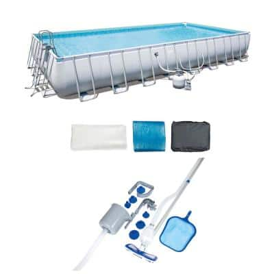 30 ft. x 40 ft. Rectangle Frame 376 in. Deep Swimming Pool and Pool Cleaning Vacuum and Maintenance Accessories Kit