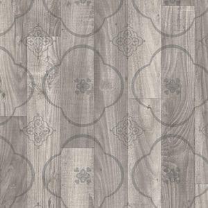 Gray Stenciled Oak Residential Vinyl Sheet, Sold by 12 ft. Wide x Custom Length