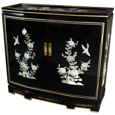 Oriental Furniture Black Lacquer Floral Design Slant Front Cabinet