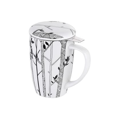 15.2 oz. Large Tea Infuser Mugs with Lid and Stainless Steel Tea-for-One Perfect Set for Office and Home Use,Sketch