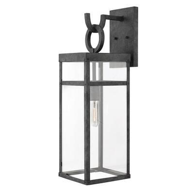 Porter Large Aged Zinc 1-Light Wall Lantern Sconce