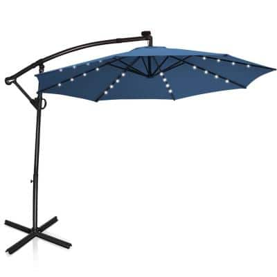 10 ft. 360-Degrees Rotation Aluminum Offset Cantilever Solar Tilt Patio Umbrella LED Lights in Blue