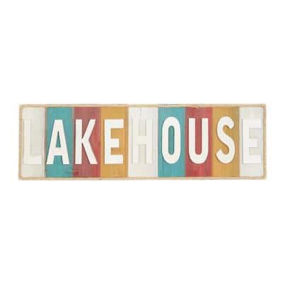 """36 in. x 11 in. Coastal Living Vintage """"LAKEHOUSE"""" Wall Sign"""