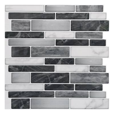 Brick 12 in. x 12 in. Vinyl Peel and Stick Backsplash Tiles in Black Grey (10-sheets)