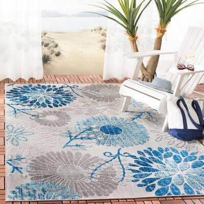Cabana Gray/Blue 3 ft. x 3 ft. Floral Leaf Indoor/Outdoor Square Area Rug