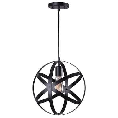 Orbit 1-Light Black Mini Pendant with Black Metal Strap Design and Bulb Included