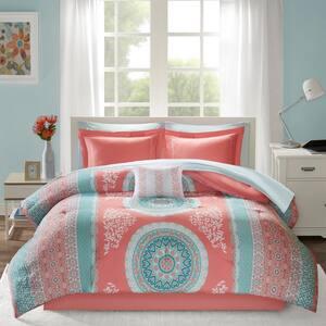 Eleni 9-Piece Coral Queen Comforter Set