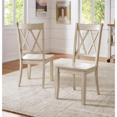 Sawyer Antique White Wood X-Back Dining Chair (Set fo 2)