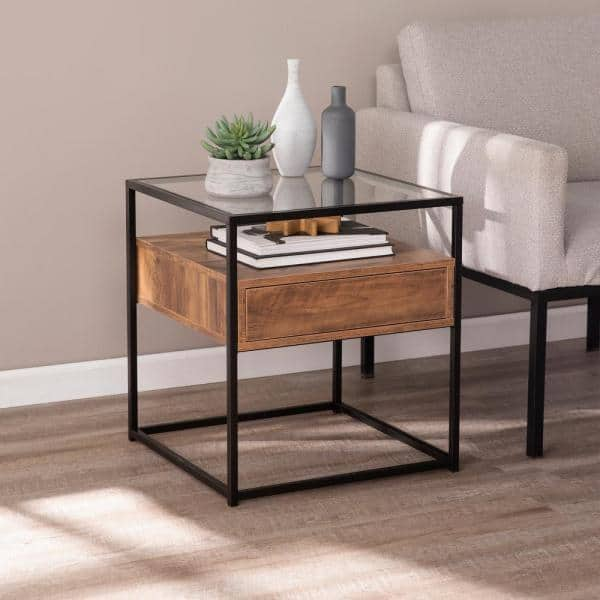 And Natural Glass Top Storage End Table, Wood End Tables With Glass Top