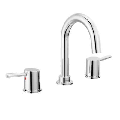 Precept 8 in. Widespread 2-Handle Bathroom Faucet with Metal Drain Assembly in Chrome