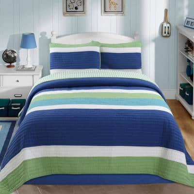Nautical Color Stripped 2-Piece Navy Blue Turquoise Green White Cotton Twin Quilt Bedding Set