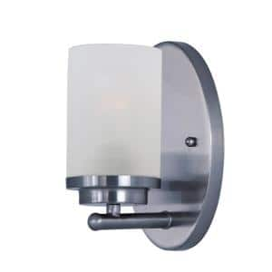 Corona 1-Light Polished Chrome Wall Sconce with Frosted Shade
