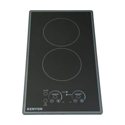 Lite Touch Q Cortez Series 12 in. Radiant Electric Cooktop in Black with 2 Elements Touch Control 208-Volt