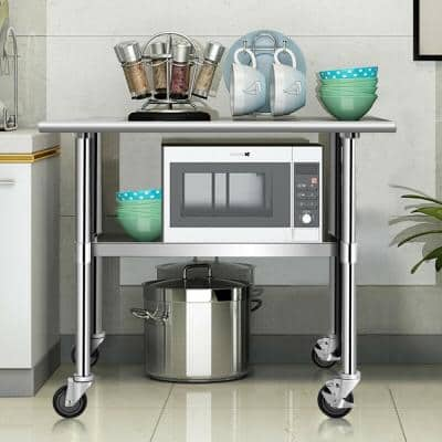 36 in. Silver Stainless Steel Commercial Kitchen Utility Table with Lockable Casters