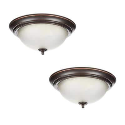 13 in. 2-Light Oil Rubbed Bronze Flush Mount with Frosted Glass Shade (2-Pack)