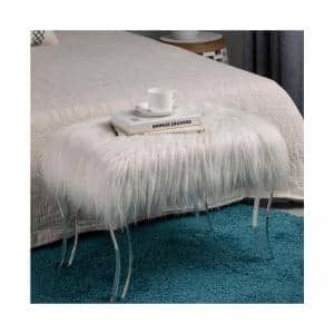 Benjara 17 5 In Gray And Clear Fur Upholstered Bench With Acrylic Legs Bm186484 The Home Depot