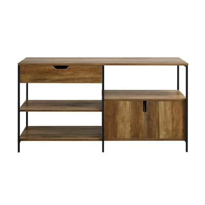 58 in. Reclaimed Barnwood 1-Drawer 2-Door Storage Shelf