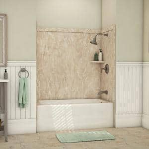 Elite 32 in. x 60 in. x 60 in. 9-Piece Easy Up Adhesive Tub Surround in Alaskan Ivory