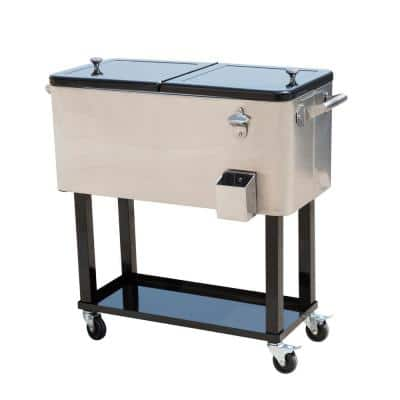 80 QT Rolling Ice Chest Portable Patio Party Drink Cooler Cart, Stainless Steel