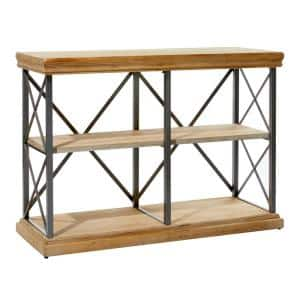 34 in. Brown Wood Industrial 3 -Shelf Accent Bookcase