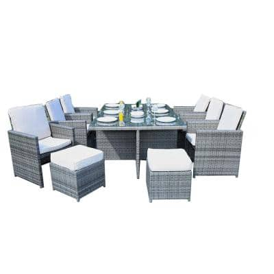 Boise Grey 11-Piece Wicker Outdoor Dining Set with Grey Cushions