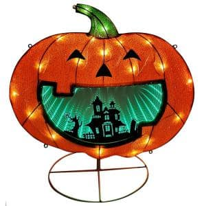 28 in. Lighted Halloween Pumpkin with Infinity Mirror
