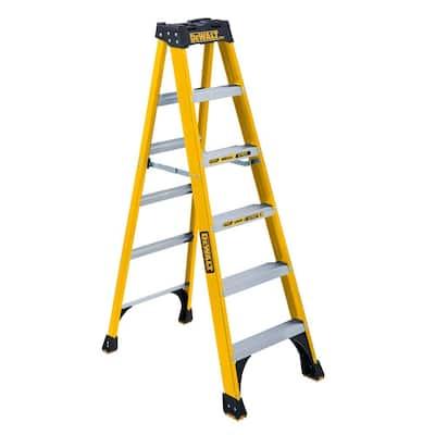 6 ft. Fiberglass Step ladder, 10 ft. Reach Height 300 lbs. Load Capacity, Type IA