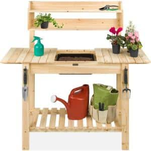 18 in. x 58 in. x 55.25 in. Wooden Potting Bench Table with Dry Sink