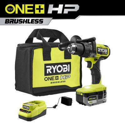 ONE+ HP 18V Brushless Cordless 1/2 in. Hammer Drill Kit with (1) 4.0 Ah High Performance Battery, Charger, and Tool Bag