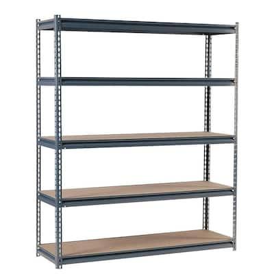 Gray 5-Tier Heavy Duty Steel Garage Storage Shelving (60 in. W x 72 in. H x 18 in. D)
