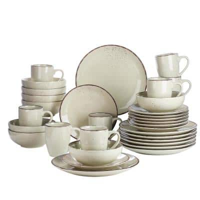 Navia Nature Beige 32-Piece Ceramic Dinnerware Set with Dinner Plate, Dessert Plate, Cereal Bowl and Mug (Service for 8)