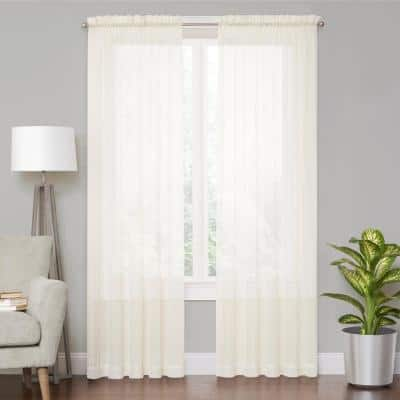 Ivory Solid Rod Pocket Sheer Curtain - 59 in. W x 95 in. L