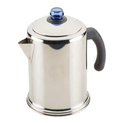 12-Cup Classic Stainless Steel with Blue Knob Coffee Percolator