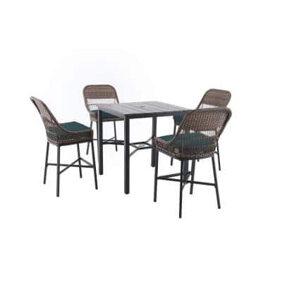 Beacon Park 5-Piece Brown Wicker Outdoor Patio High Dining Set with CushionGuard Charleston Blue-Green Cushions