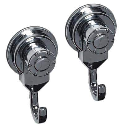 Chrome Bath, Kitchen, Home Strong Hold Suction Hooks (Set of 2)