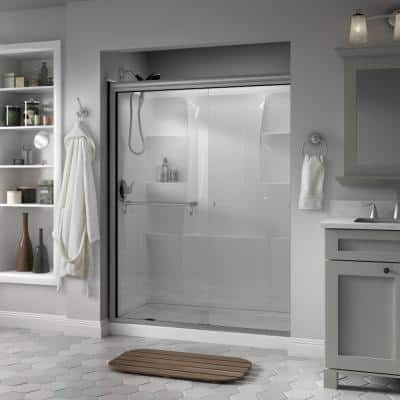 Portman 60 in. x 70 in. Semi-Frameless Traditional Sliding Shower Door in Nickel with Clear Glass