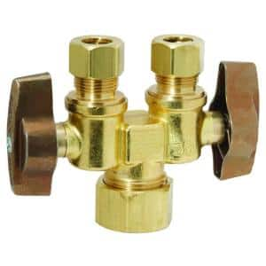 1/2 in. Nom Comp Inlet x 3/8 in. O.D. Comp x 3/8 in. O.D. Comp Dual Outlet Dual Shut-Off 1/4-Turn Straight Ball Valve