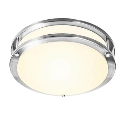 11.8 in. 18-Watt Brushed Nickel Dimmable LED Flush Mount Ceiling Light with Frosted White Shade Warm White 3000K