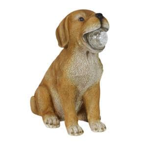 12 in. Tall Solar Dog with LED Ball in Mouth Garden Statue