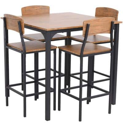 5-Piece Walnut Counter-Height Dining Table Set with Footrests and Metal Legs