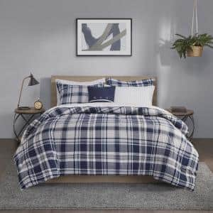 Paton 8-Piece Navy Cal King Reversible Complete Bedding Set