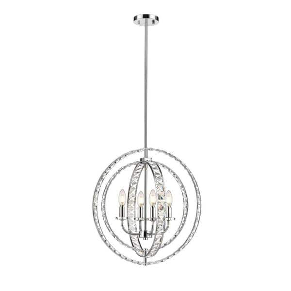 Ove Decors Antila 4 Light Chrome Pendant With Crystals 15lpe Anti21 L The Home Depot